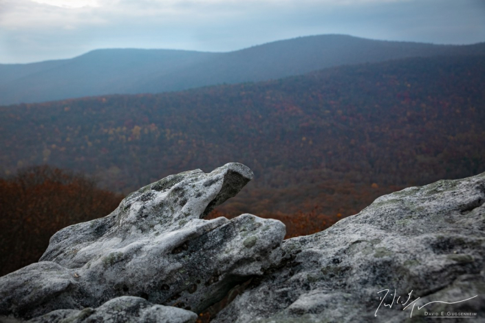 """""""The Eagle's Call"""" - An eagle's beak appears to emerge from this rock formation above the valley, Wolf Gap Recreational Area, West Virginia.."""