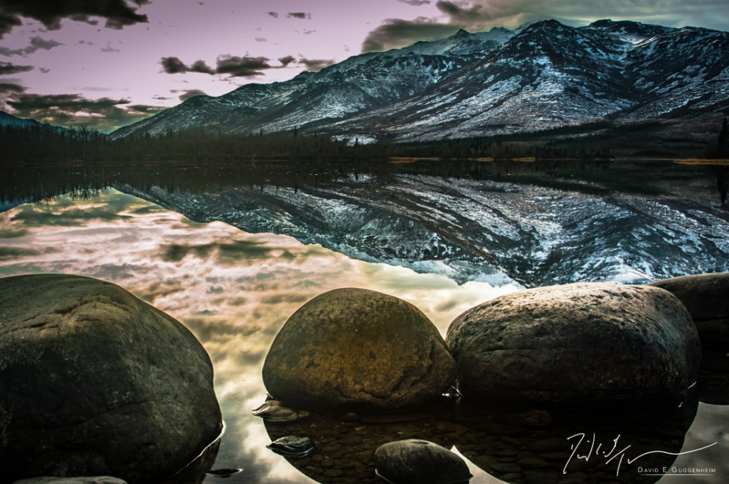 """""""Be Still"""" - Mountains and rocks reflect in the still waters of the early morning (near Denali National Park, Alaska)."""