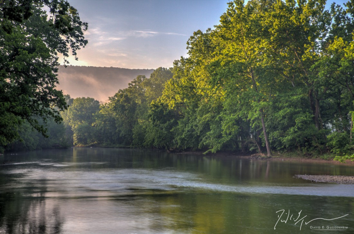 """""""North Fork"""" - Shot on an early summer morning from the low bridge near Muse Vineyards. This is a high dynamic range (HDR) image combining 10-20 separate images. (Woodstock, Virginia.)"""